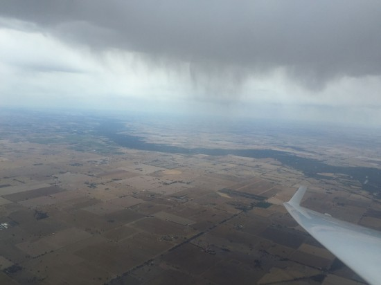 Some of the rain we flew around.